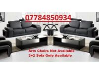 BRAND NEW BENTLEY ITALIAN LEATHER 3+2 SOFA GREY OR BLACK + DELIVERY