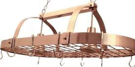 Copper pot rack with built in lights