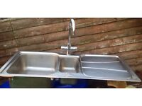 Stainless steel dual sink with mixer tap