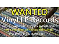 Vinyl Records WANTED LP's in good condition 80's 90's 00 Pop Rock Punk Cash Waiting Norfolk Suffolk