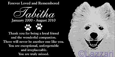 Personalized American Eskimo Dog Pet Memorial 12x6 Custom Made Granite Headstone