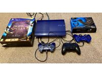 PS3 Super slim (Blue console), games and controllers