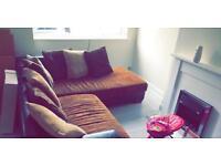 Harvey's corner sofa with foot stall.