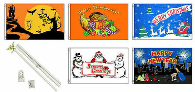 3x5 Saisonal Urlaub 5 Flagge Großhandel Set 0.9mx5' 1.8m M Weiß Poliger (Urlaub Dekorationen Großhandel)