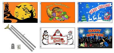 3x5 Saisonal Urlaub 5 Flagge Großhandel Set 0.9mx5' 1.8m M Aluminium Stange (Urlaub Dekorationen Großhandel)