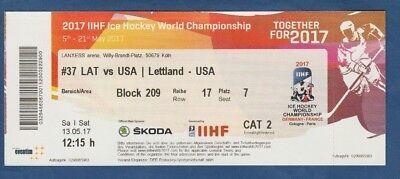 Orig.Ticket  Eishockey WM KÖLN + PARIS 2017  LETTLAND - USA // Spiel 37  !!  TOP