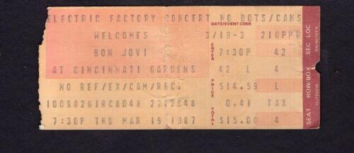 1987 Bon Jovi Cinderella concert ticket stub Cincinnati OH Slippery When Wet