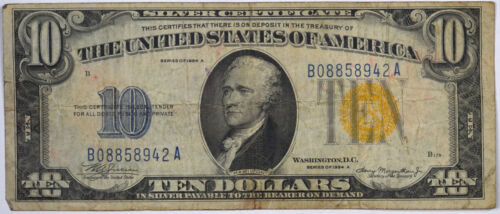 1934 $10 North Africa Emergency Silver Certificate Circulated