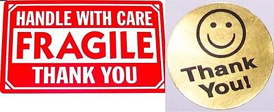 500 2 X 3 Fragile Handle With Care Label Sticker 20 Free Thank You Gold Smiley