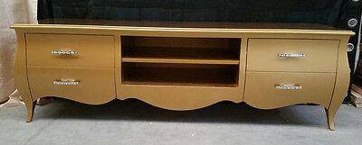 Tür Fernseher Mobil Wohnzimmer Farbe Gold in Holz 4 Schubladen Konvex und Fach
