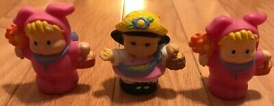 2 Fisher Price Little People Pink EASTER Bunny Costumes And 1 Girl](2 People Costume)