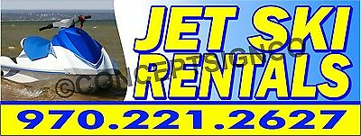 3'X8' JET SKI RENTALS BANNER Signs BIG CUSTOM PHONE NUMBER Seadoo Watercraft PWC