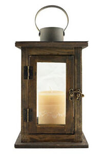 Stonebriar Rustic 12 Inch Wooden Candle Lantern, Vintage Wood