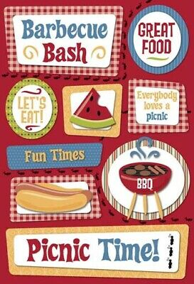 Scrapbooking Crafts KF Stickers Picnic BBQ Bash Hot Dog Watermelon Fun Times Eat