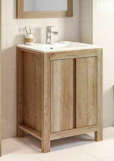 Bathroom Vanity Unit 600mm 60cm Floor Standing Sink Cabinet Basin Classic Oak 5907441293396 Ebay