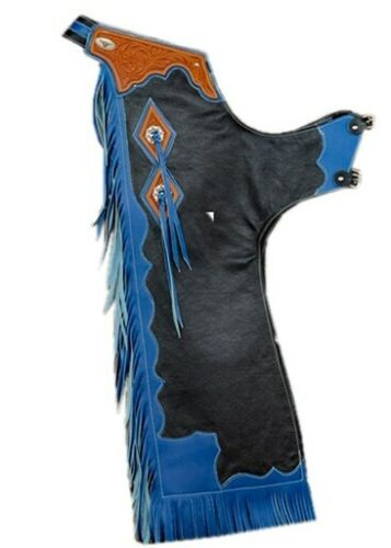Western Top Grain Leather Bull riding Rodeo Chap with Matching Fringes