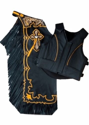 Western Top Grain Leather Bull riding Rodeo Chap & Vest with Matching Fringes