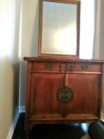 State your offer!  Leather and Wood Bedroom Set!