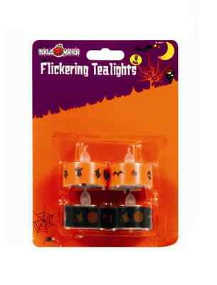 Halloween Flickering Orange/Black Tea Lights Spooky Scary Party Home Decorations