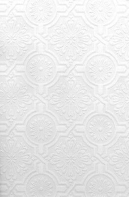 Tin Tile Wallpaper - Faux Tin Ceiling Tile Textured PAINTABLE ORNATE TILES Wallpaper 497-32817