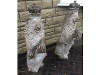 Stunning Pair Of Stone Lions/Garden Ornaments