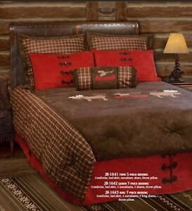 Cabin bedding set comforter moose canoe plaid red brown lodge new