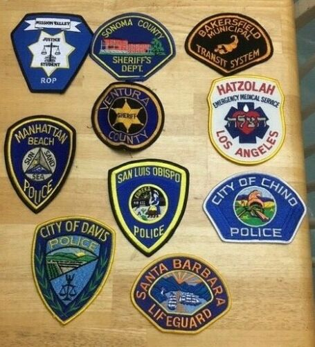 LOT OF 10 DIFFERENT CALIFORNIA SHOULDER PATCHES  ML03
