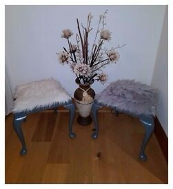 Stunning Vintage Unique Queen Anne Style Fur Stool - Free Delivery