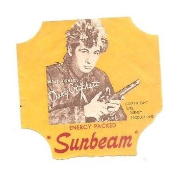 Vintage Sunbeam bread label Davy Crockett, Walt Disney Promotions