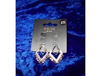 Two Pairs Of Ladies Silver-Coloured Earrings - Brand New
