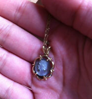 10K GOLD STAMPED ABALONE CAMEO NECKLACE (ANTIQUE/VINTAGE?)