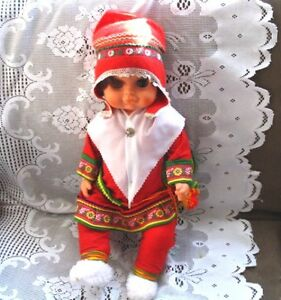 19'' LAPPONIA FINLAND ORIGINAL CHUBBY CHILD DOLL in RED FELT 732