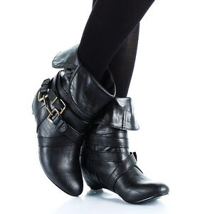 New Women Faux Leather Slouch Mid Calf Boots Shoes