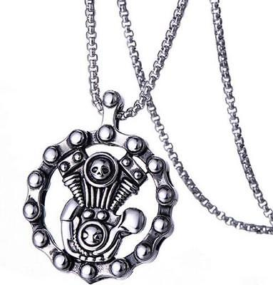 Fashion Steampunk Engine Necklace Punk 316L Stainless Steel Pendant Mens Jewelry](Steampunk Fashion Male)