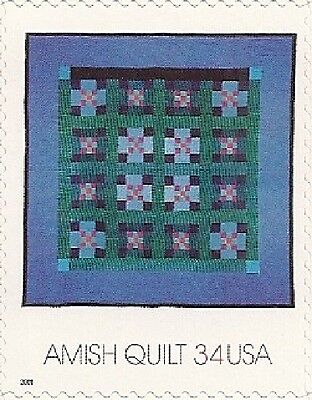 Amish Single (US 3527 Amish Quilts Double Ninepatch 34c single MNH 2001)