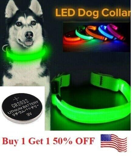 LED Adjustable Dog Collar Blinking Night Flashing Light Up Glow Pets Safety USA Collars