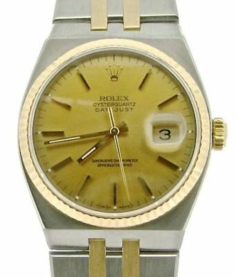Rolex Datejust Oysterquartz Stainless Steel Yellow Gold Watch Champagne 17013