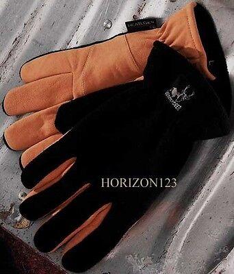 Thermal Heat Loc Insulated-real Deer Skin Suede Leather Gloves-black -tan-medium
