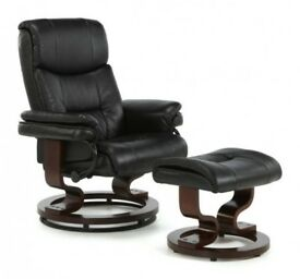 Black leather massage recliner + footstool