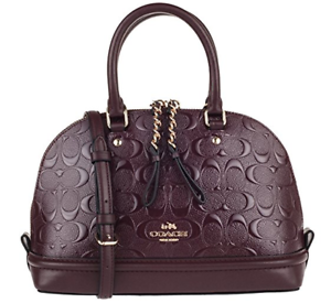 Coach Sign Debossed Mini Sierra Satchel Handbag In Oxblood 1 F 55450