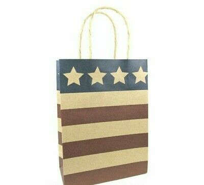 LDW 12 Patriotic Kraft Handle Paper Party Favor Wedding Gift Bags