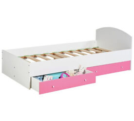 HOME Malibu Single Bed Frame with 2 Drawers - Pink and White