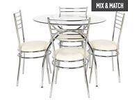 Argos price /£179.99 HOME Lusi Glass Dining Table and 4 Chairs - Cream
