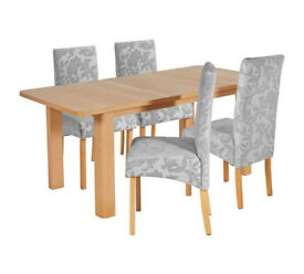 Stonebury Extendable Table & 4 Chairs - Grey Damask / Cream Damask