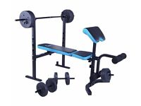 Mens Health Folding Workout Bench with 80kg Weights