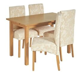 Ex Display Ashdon Solid Wood Table &4 Skirted Chairs - Cream Damask