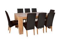 Heart of House Alston Oak Veneer Table & 8 Chairs - Choc