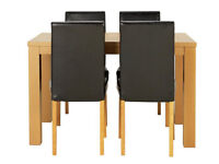 Pemberton Oak Veneer Dining Table & 4 Midback Chairs - Black
