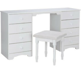 Nordic Dressing Table and Stool - White