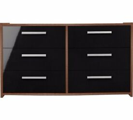 HOME New Sywell 3+3 Drawer Chest - Walnut Effect and Black Gloss Argos RRP £108.99